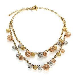 Roberto Coin 18k Tricolor Gold Double Strand Filigree Diamond Ball Necklace