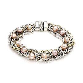 David Yurman Pink Pearls 925 Silver & 18k Yellow Gold Multi-Chain Bracelet