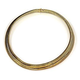 Vintage 14k Yellow Gold 11mm Wide Snake Style Choker Necklace