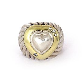 David Yurman Diamond 18k Gold Sterling Heart Dome Band Ring Size - 5