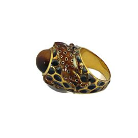 Estate Tiger's Eye Enamel 14k Yellow Gold Cheetah Dome Ring Size - 7.5