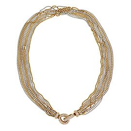 Stunning 1.82ct Diamond 18k Two Tone Gold Multi Bead Chain Fancy Necklace