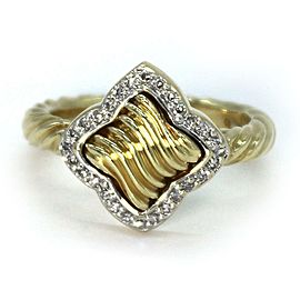 David Yurman Diamond 18k Yellow Gold Quatrefoil Ring Size - 6