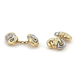 "Bvlgari Bulgari ""Doppio Cuore"" 18k Yellow Gold & Steel Chain Cufflinks"
