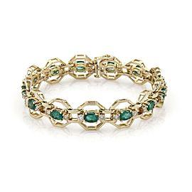 Estate 7.90ctw Diamond & Emerald 14k Yellow Gold Octagon Link Bracelet