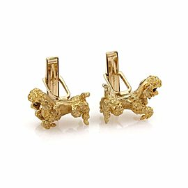 Vintage Sapphire & 14k Yellow Gold Textured Poodle Dog Cufflinks