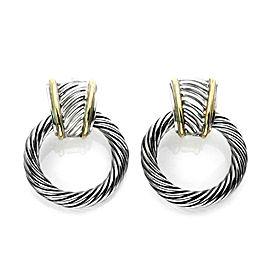 David Yurman Sterling Silver & 14k Gold Cable Hoops Dangle Earrings