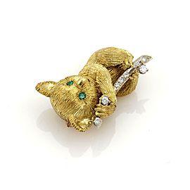 Koala Bear Diamonds & Emerald 18k Gold Brooch Pin Maker's Mark LG