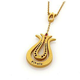 18k Yellow b Gold Fibula Diamonds & Ruby Long Fancy Double Loop Pendant Necklace