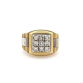 1.00 Carat Diamond 14k Two Tone Band Large Ring Size 7.5