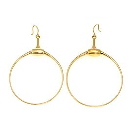 Gucci 18k Yellow Gold Horse Bit Hook Backs Swinging Hoop Earrings