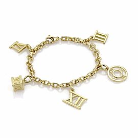 Tiffany & Co. Atlas 18k Yellow Gold 5 Roman Numeral Dangle Charms Bracelet