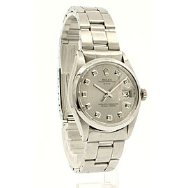 Mens ROLEX Oyster Perpetual Date 34mm Silver Dial Diamond Stainless Watch