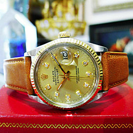 Mens Vintage ROLEX Oyster Perpetual Datejust 36mm Gold DIAMOND Dial Watch
