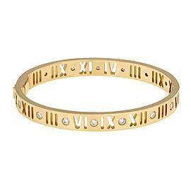 "Tiffany & Co. Atlas 1.00ct Diamond 18k YGold Pierced Roman Numeral Bangle 6"""