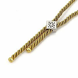 Snake Chain 1.20ct Diamond 18k Gold Twisted Rope Tassel Necklace
