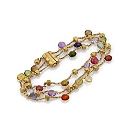 Marco Bicego PARADISE Multicolor Gems 18k Yellow Gold Triple Strand Bracelet