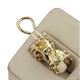 Tiffany & Co. 18k Yellow Gold & Enamel Double Ribbow Bow Post Clip Earrings