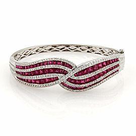 Estate 7.20ct Diamonds & Rubies 18k White Gold Fancy Design Bangle Bracelet