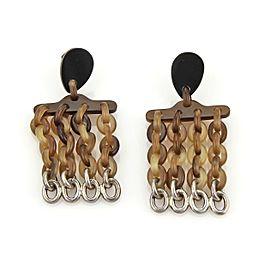 Hermes Buffalo Horn & Sterling Silver Multi Chain Links Drop Dangle Earrings