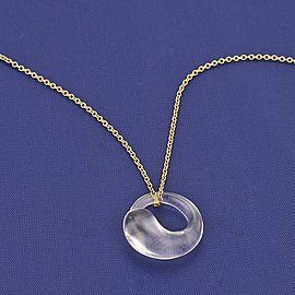 Tiffany & Co. Peretti 18K YGold & Quartz Eternal Circle Pendant Necklace
