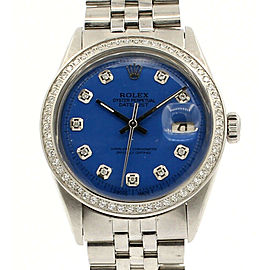 Mens Vintage ROLEX Oyster Perpetual Datejust 36mm Blue Dial Diamond Bezel Watch