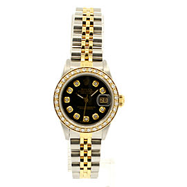 ROLEX Oyster Perpetual 18k & Steel Datejust 26mm BLACK Dial Diamond Watch