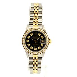 ROLEX Oyster Perpetual 18k & Steel Datejust 26mm BLACK Dial Diamond Watch