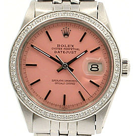 Men Vintage ROLEX Oyster Perpetual Datejust 36mm PINK Dial Diamond Bezel Watch