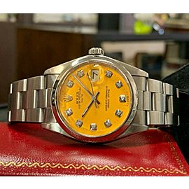 Mens Vintage ROLEX Oyster Perpetual Date 34mm YELLOW Dial Diamond Stainless