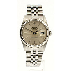 Mens ROLEX Oyster Perpetual Datejust 36mm Stainless Steel Silver Dial Watch
