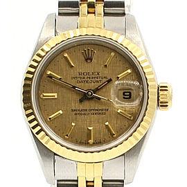 ROLEX Oyster Perpetual Datejust 26mm 18k Gold & Steel Gold Linen Dial Watch