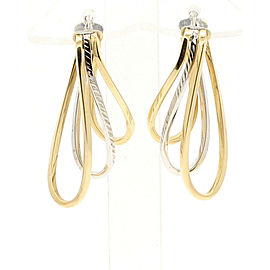 FINE ESTATE 14K YELLOW WHITE GOLD FREE FORM EARRINGS 6.8 GRAMS