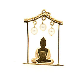 FINE ESTATE 14K YELLOW GOLD BUDDHA CHARM PENDANT 9.3 GRAMS PEARLS TIGER EYE