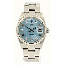Mens Vintage ROLEX Oyster Perpetual Date 34mm Blue MOP Dial Diamond Steel Watch