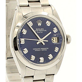 Mens Vintage ROLEX Oyster Perpetual Date 34mm Blue Dial Diamond Steel Watch