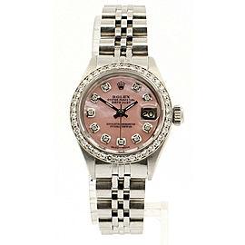 ROLEX Oyster Perpetual 18k & Steel Datejust 26mm PINK MOP Dial Diamond Watch