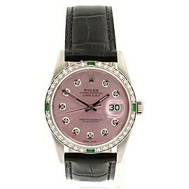 Mens Vintage ROLEX Oyster Perpetual Datejust 36mm Pink Dial Diamond Watch
