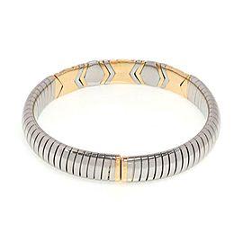 Bvlgari Bulgari 18k Yellow Gold & Steel Parentesi 10mm Wide Flex Bracelet