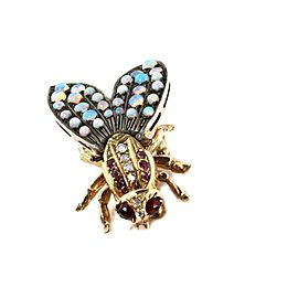 Art Deco Diamond & Opals 14k Yellow Gold Silver Large Bee Brooch