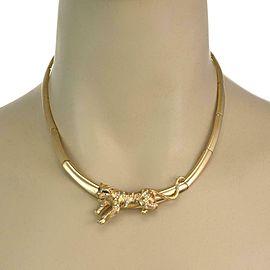 Estate Diamond & Emerald 18k Yellow Gold 3D Tiger Collar Necklace