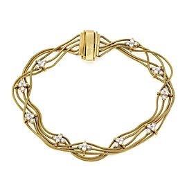 Jose Hess 1.00ct Diamond 18k Yellow Gold Multi-Strand Snake Chain Bracelet