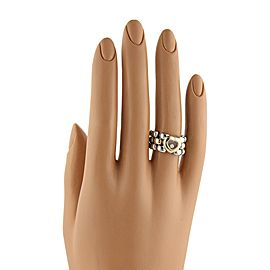 Chopard Happy Diamond 18k Gold SSteel Panther Link Flex Band Ring Size 6