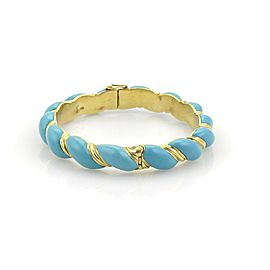 Estate 18k Yellow Gold Blue Enamel Twisted Rope Design Bangle Bracelet