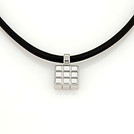 Chopard 18k White Gold Square Shape Cube Pendant & Silk Cord Necklace