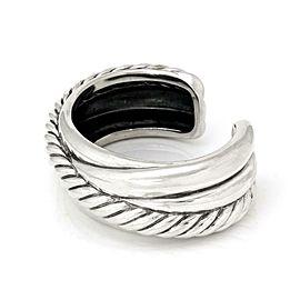 David Yurman Sterling Silver Cable Crossover Wide Cuff Bracelet