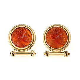 Elizabeth Locke Carnelian Intaglio 18k Yellow Gold Fancy Post Clip Earrings