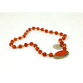 Vintage Hand Carved Carnelian Oval Cameo Pearls & Beaded 14k Gold Fancy Necklace