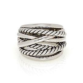 David Yurman Sterling Silver 18mm Wide Crossover Band Ring Size 6.5