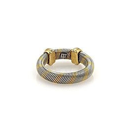 Cartier Trinity 18k Yellow Gold & Steel 4mm Wire Band Ring Size EU 49-US 5